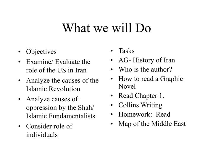 What we will do