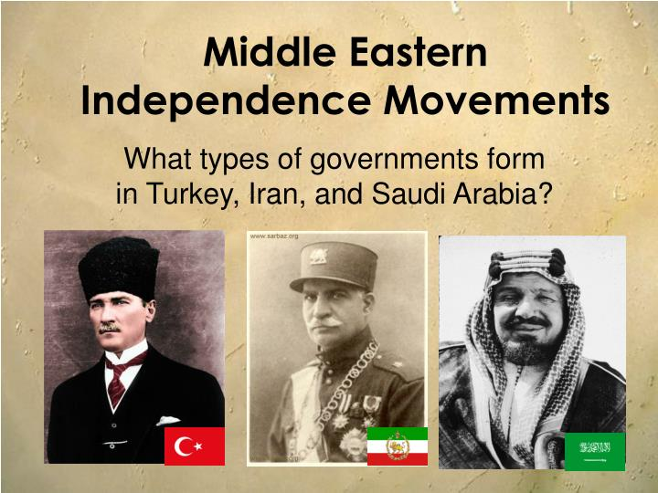middle eastern independence movements n.