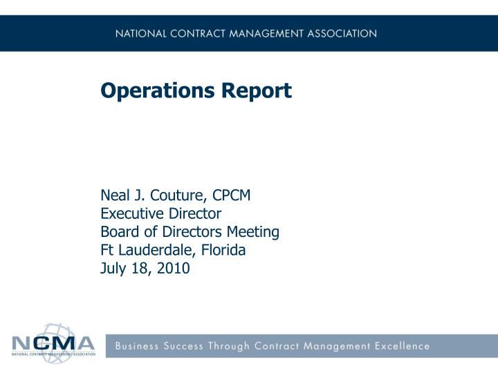 operations report n.