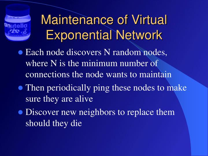 Maintenance of Virtual Exponential Network