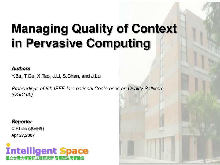 managing quality of context in pervasive computing n.