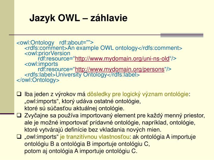 Jazyk OWL – záhlavie