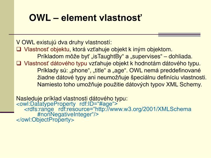 OWL – element vlastnosť