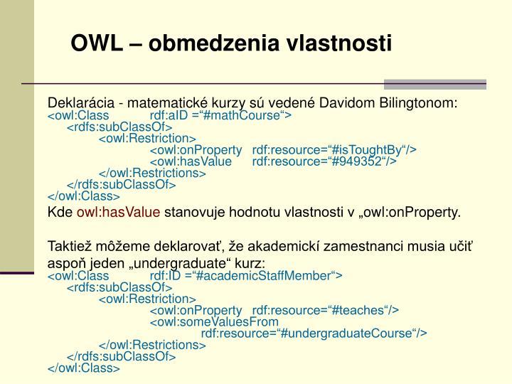 OWL – obmedzenia vlastnosti