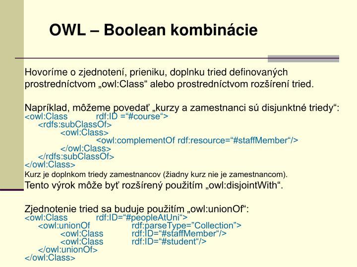 OWL – Boolean kombinácie
