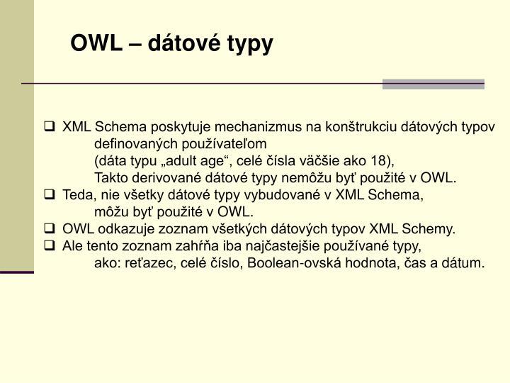 OWL – dátové typy