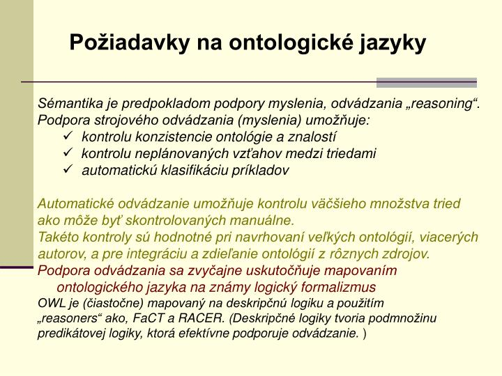Požiadavky na ontologické jazyky