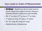 four levels or scales of measurement2