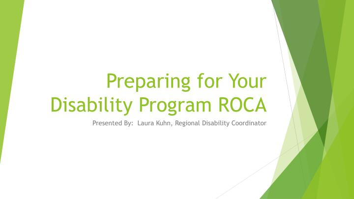 preparing for your disability program roca n.