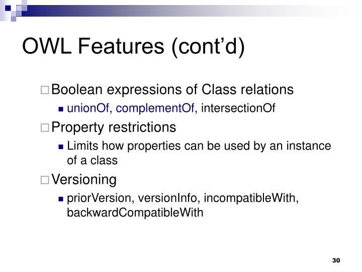 OWL Features (cont'd)