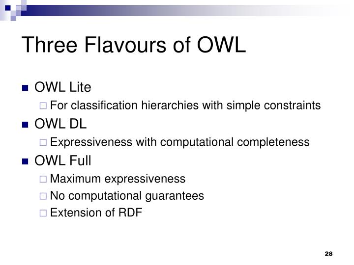 Three Flavours of OWL