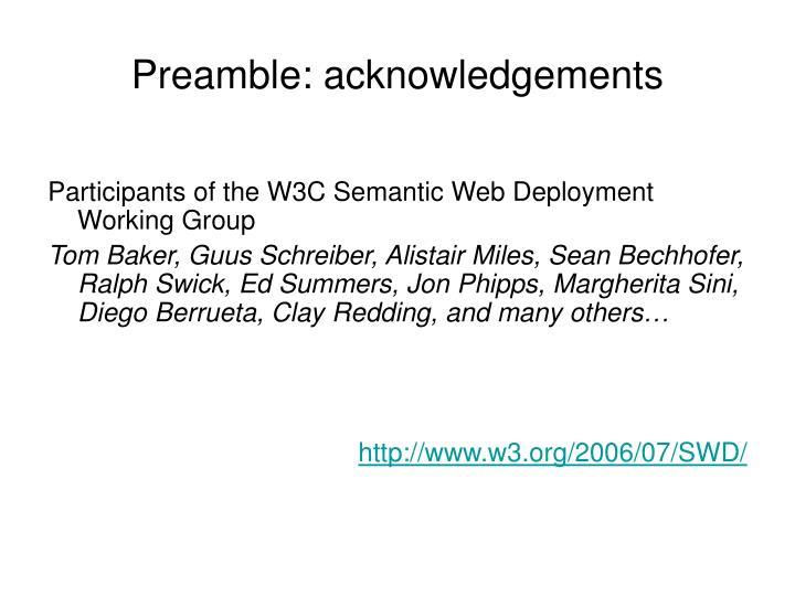 Preamble acknowledgements