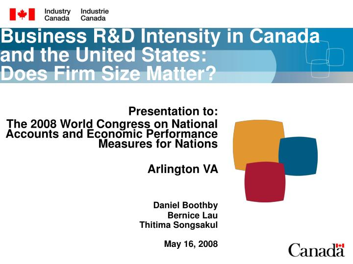 business r d intensity in canada and the united states does firm size matter n.