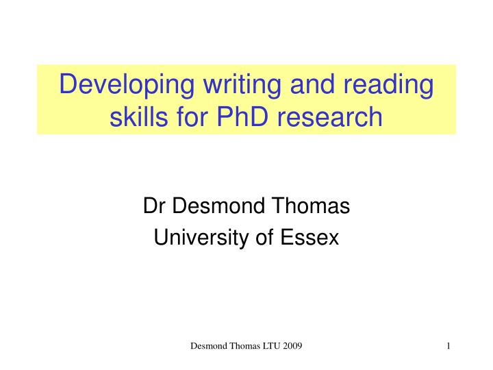 developing writing and reading skills for phd research n.