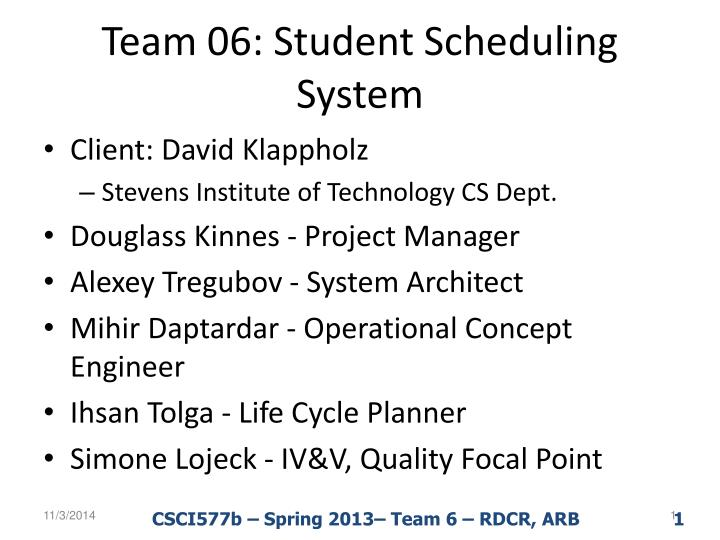 team 06 student scheduling system n.