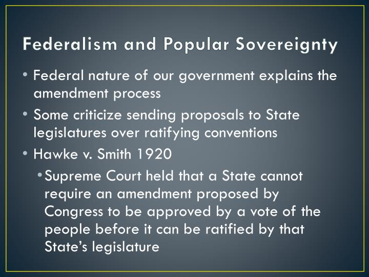 Federalism and Popular Sovereignty
