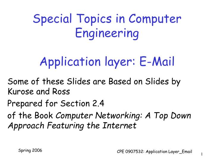 PPT - Special Topics in Computer Engineering Application