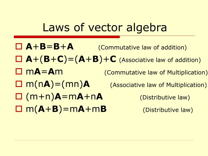 Laws of vector algebra