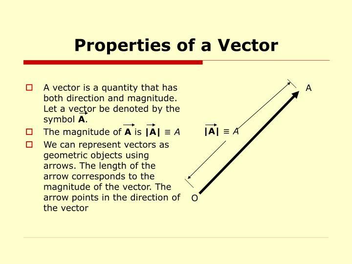 Properties of a Vector