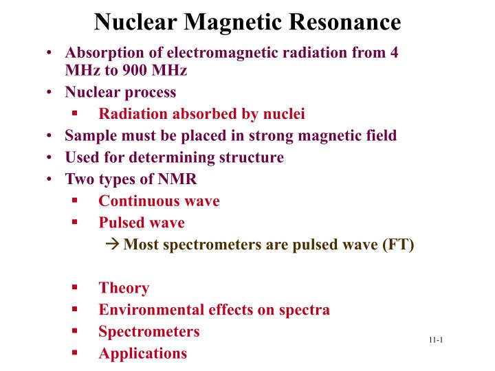 nuclear magnetic resonance n.