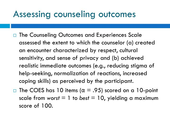 Assessing counseling outcomes