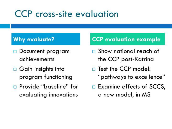 CCP cross-site evaluation