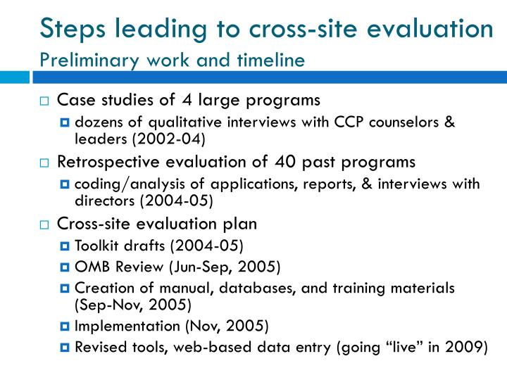 Steps leading to cross-site evaluation