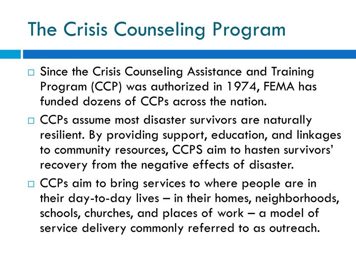 The crisis counseling program