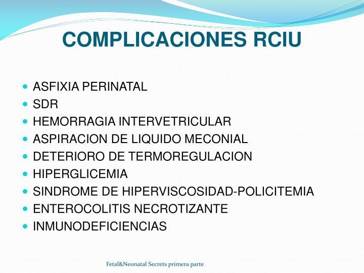 COMPLICACIONES RCIU