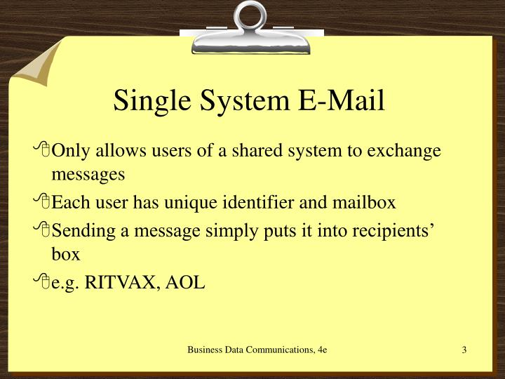 Single system e mail