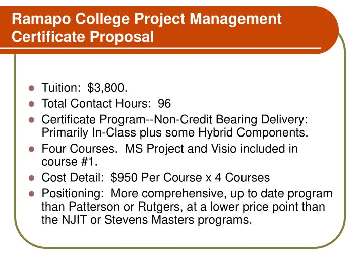 Ramapo College Project Management Certificate Proposal