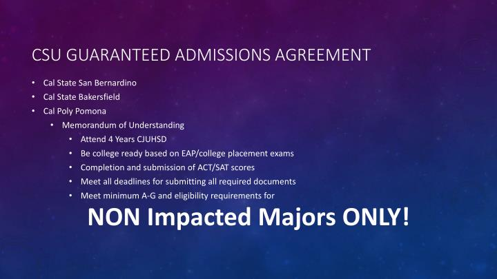CSU guaranteed admissions agreement