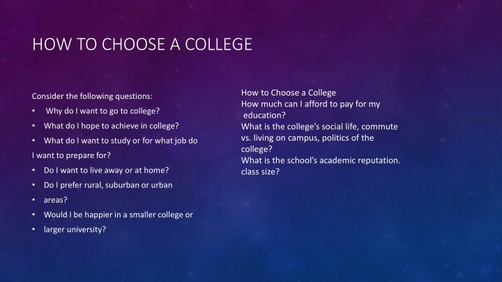 How to Choose a College