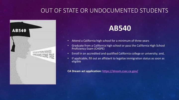 Out of state or Undocumented students