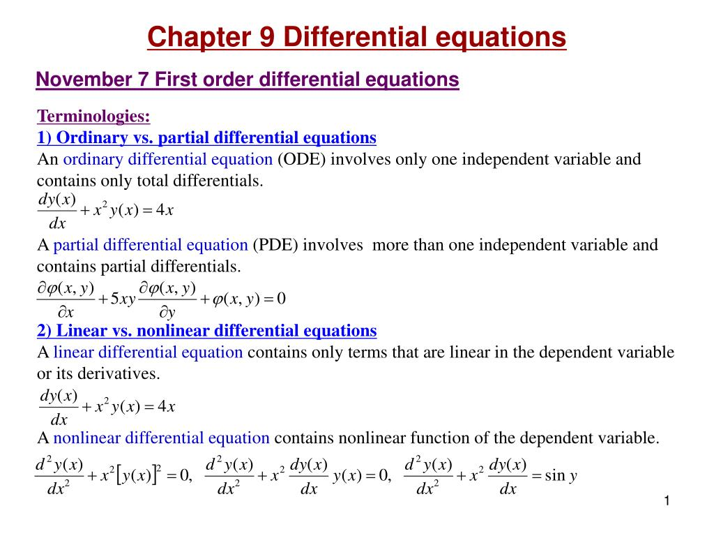 ppt - terminologies: 1) ordinary vs. partial differential equations