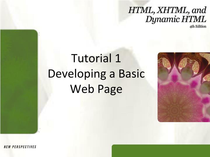 tutorial 1 developing a basic web page n.