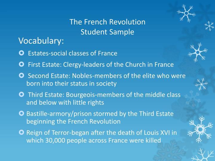 the french revolution student sample n.