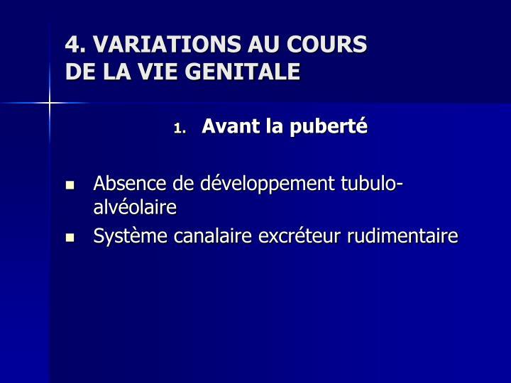 4. VARIATIONS AU COURS