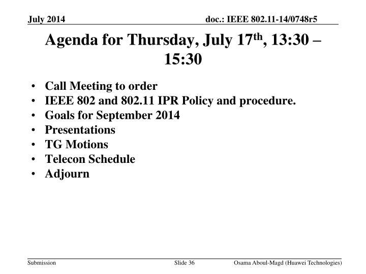 Agenda for Thursday, July 17