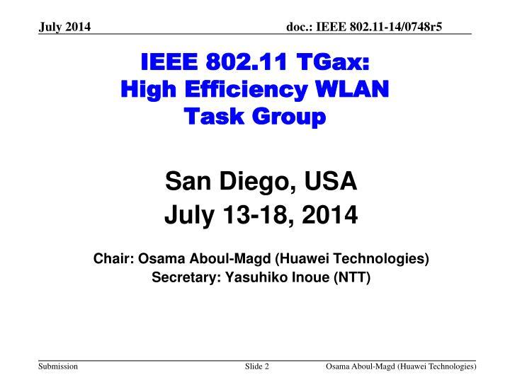 Ieee 802 11 tgax high efficiency wlan task group