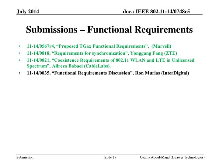 Submissions – Functional Requirements