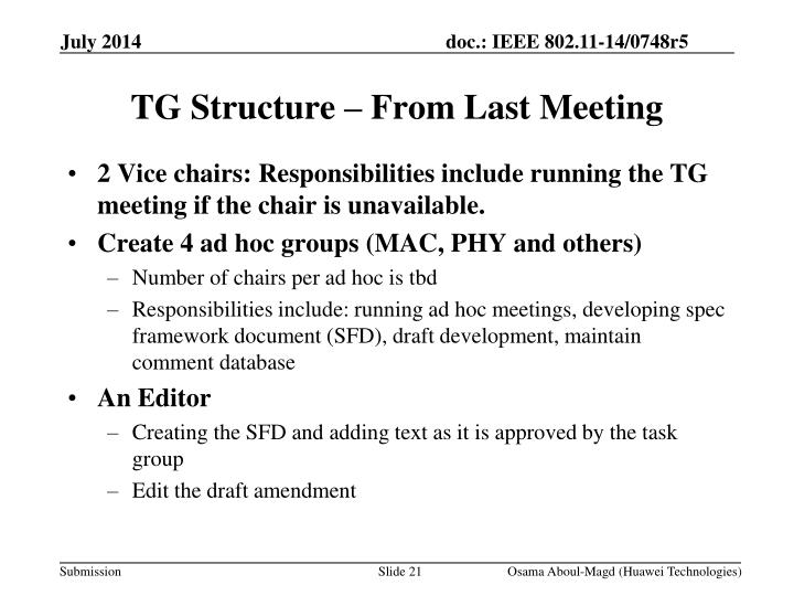 TG Structure – From Last Meeting