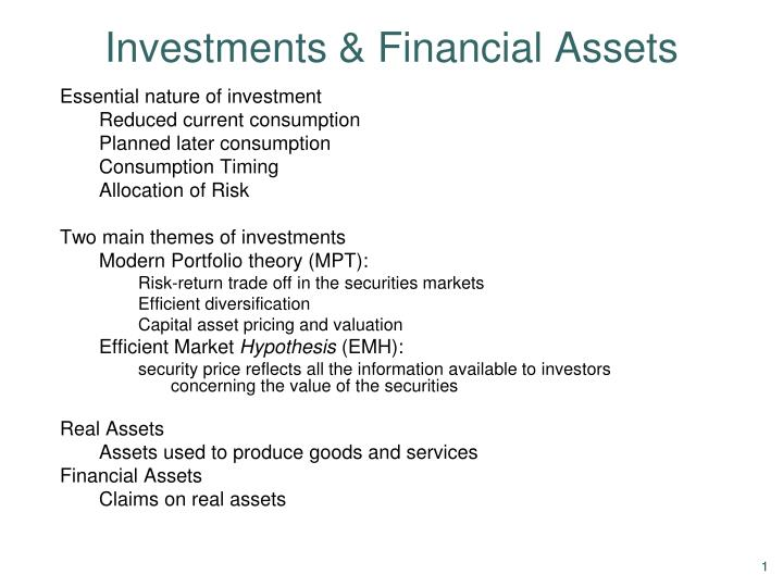 investments financial assets n.