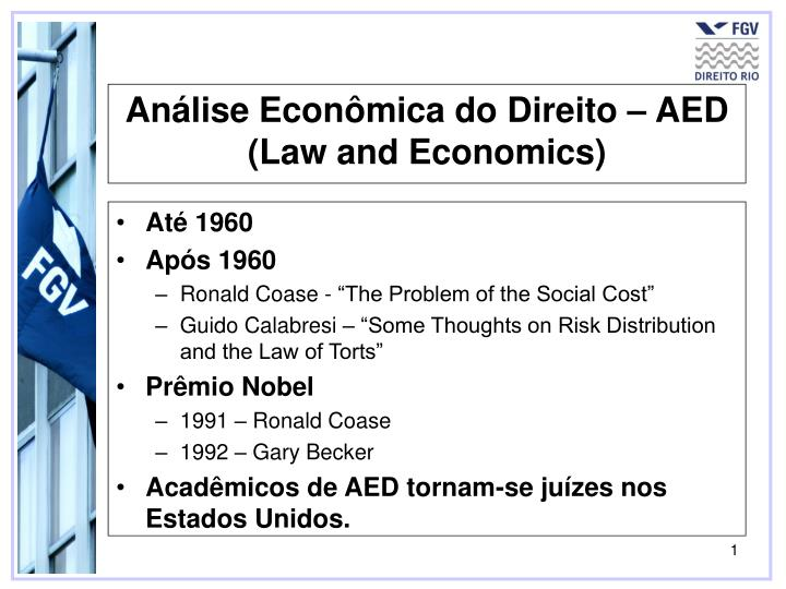 an lise econ mica do direito aed law and economics n.