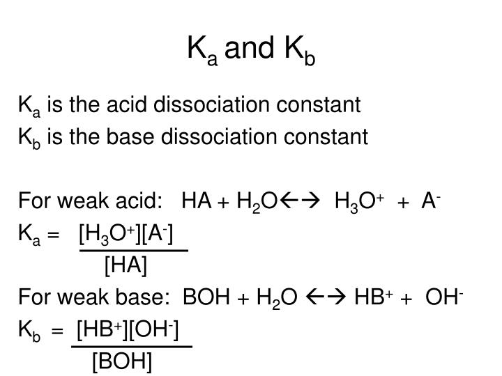 determination of the dissociation constant weak acid 65 acid dissociation constants and the titration of a weak acid one of the most important applications of equilibria is the chemistry of acids and bases.