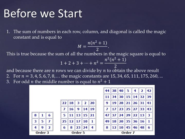 The sum of numbers in each row, column, and diagonal is called the magic constant and is equal to