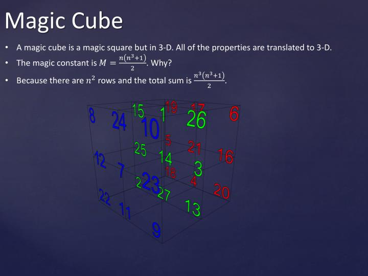 A magic cube is a magic square but in 3-D. All of the properties are translated to 3-D.