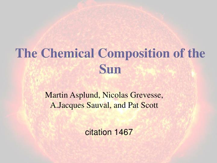 the chemical composition of the sun n.