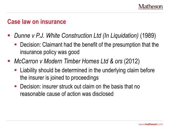 Case law on insurance