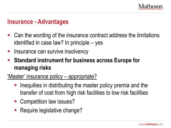 Insurance - Advantages